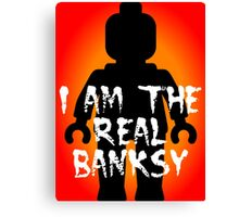 "Black Minifig with ""I am the Real Banksy"" slogan, Customize My Minifig Canvas Print"