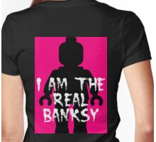 """Black Minifig with """"I am the Real Banksy""""  Womens Fitted T-Shirt"""