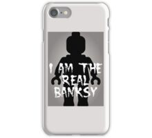 """Black Minifig with """"I am the Real Banksy"""" iPhone Case/Skin"""
