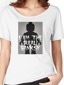 "Black Minifig with ""I am the Real Banksy"" Women's Relaxed Fit T-Shirt"