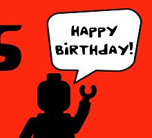 Happy 5th Birthday Greeting Card by Customize My Minifig