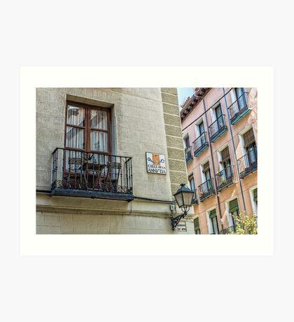 Balcony at Amnesty street in Madrid city center Art Print