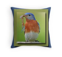 Bluebird Greeting Card Throw Pillow