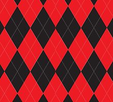 Red and Black Argyle by ValeriesGallery