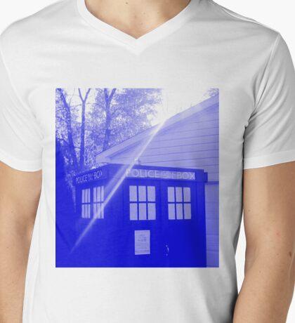 Blue and White T.A.R.D.I.S. Mens V-Neck T-Shirt