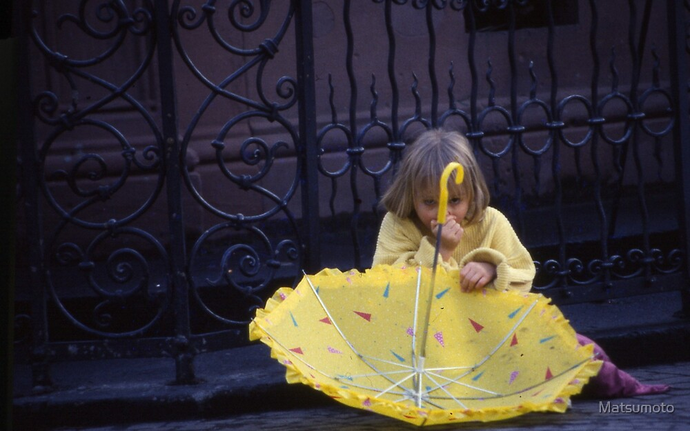 kids and umbrellas #1 by Matsumoto