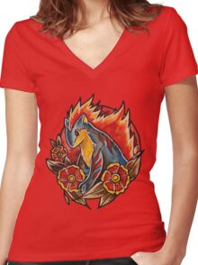 Quilava Women's Fitted V-Neck T-Shirt