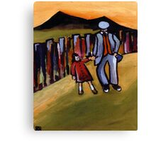 Walking with grandad (from my original acrylic painting ) Canvas Print