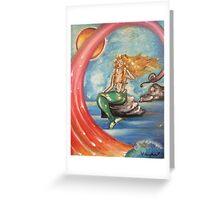 Mermaid On Rocks Greeting Card