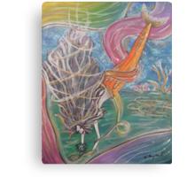 Mermaid With Flower Canvas Print