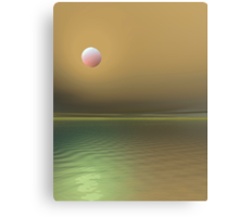 3d red moon rising seascape Canvas Print