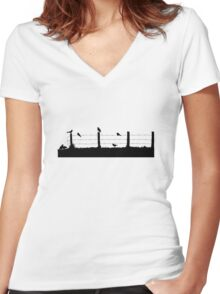 Birds on Fence Women's Fitted V-Neck T-Shirt