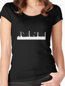 Birds on Fence White Women's Fitted Scoop T-Shirt