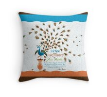 Paisley Peacock Pride and Prejudice: Modern Throw Pillow