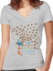 Paisley Peacock Pride and Prejudice: Modern Women's Fitted V-Neck T-Shirt