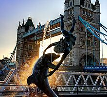 Tower Bridge and Girl with a Dolphin Fountain - HDR by Colin  Williams Photography