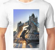Tower Bridge and Girl with a Dolphin Fountain - HDR Unisex T-Shirt