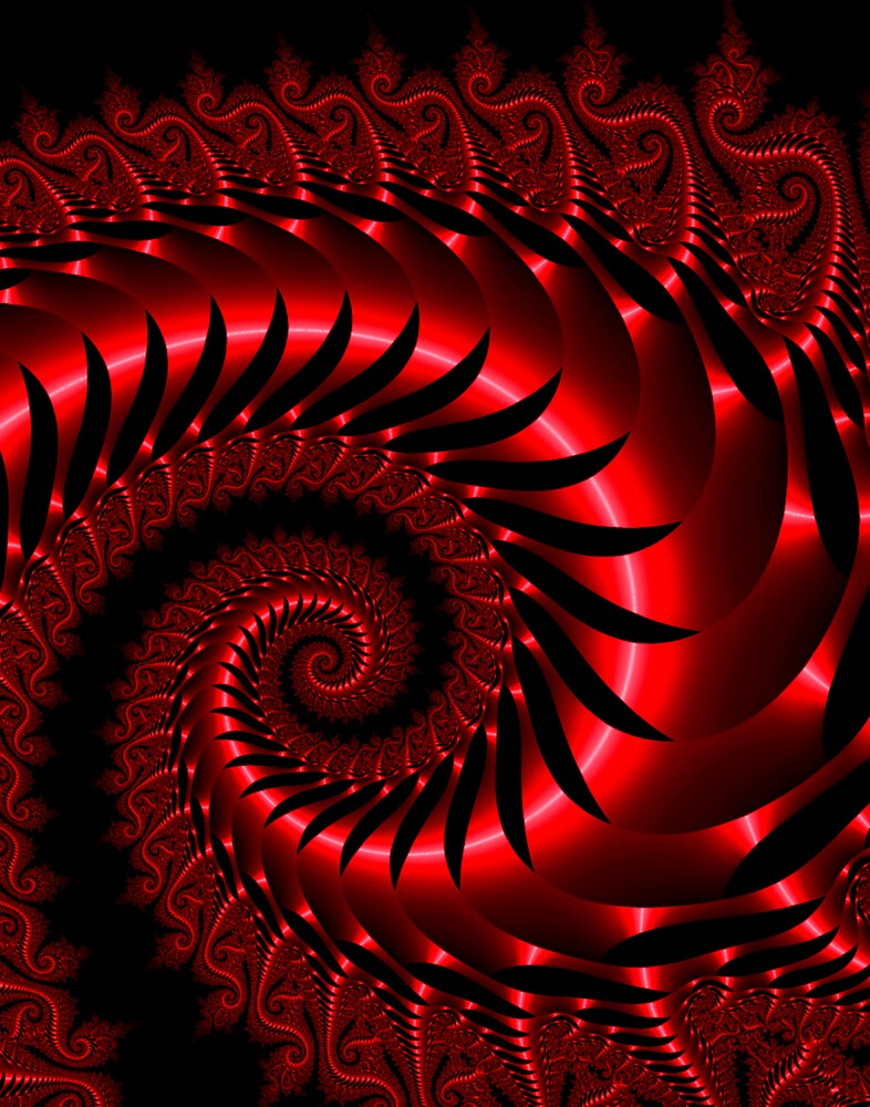 Red Fractal Metallic Serpent by pelmof
