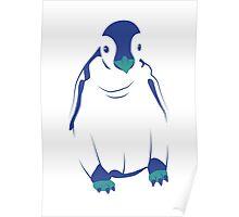 Festive Penguin, Blue Poster