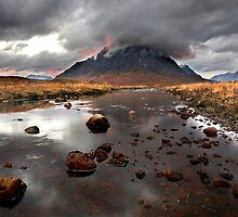 Sun sets behind Buachaille Etive Mor at Glencoe Scotland by Martin Lawrence