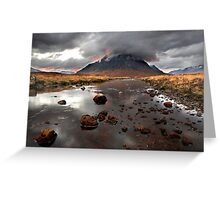 Sun sets behind Buachaille Etive Mor at Glencoe Scotland Greeting Card