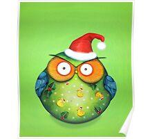 Funny Santa Owl Poster