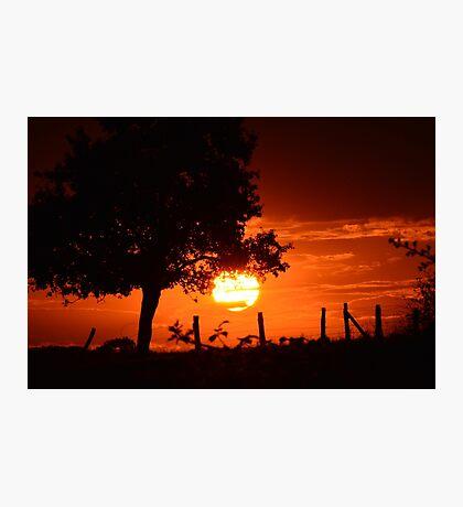 zon ondergang met rode gloed  Photographic Print