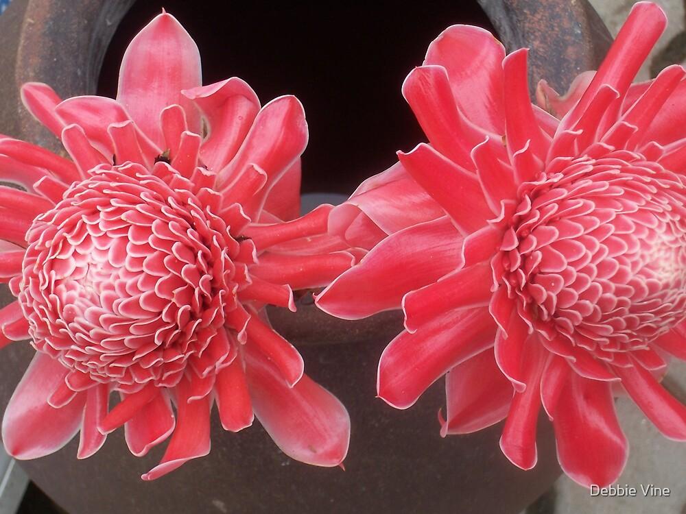 Oriental flowers in a jar by Debbie Vine