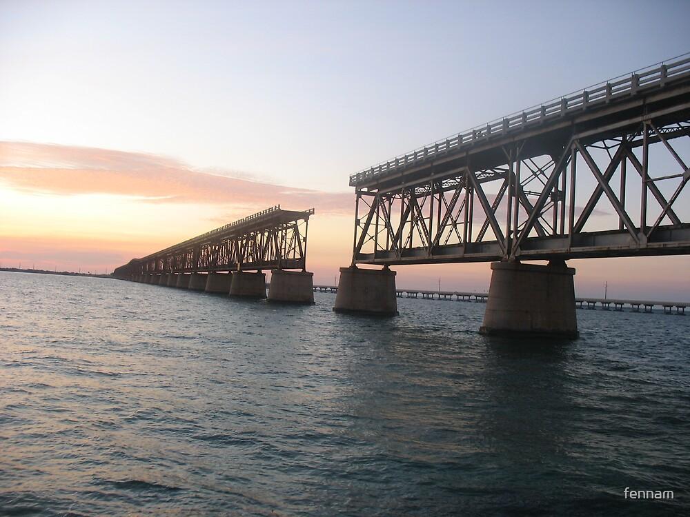 Bahia Honda Bridge Sunset on the Water by fennam