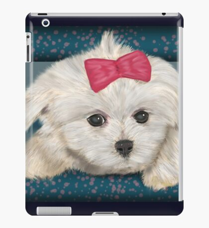 Cute Maltese Dog with Creme Fur and Red Ribbon iPad Case/Skin