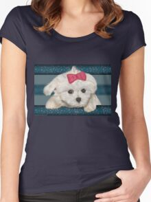 Cute Maltese Dog with Creme Fur and Red Ribbon Women's Fitted Scoop T-Shirt