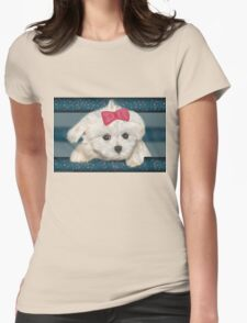 Cute Maltese Dog with Creme Fur and Red Ribbon Womens Fitted T-Shirt