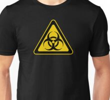 Biohazard Symbol Warning Sign - Yellow & Black - Triangular Unisex T-Shirt