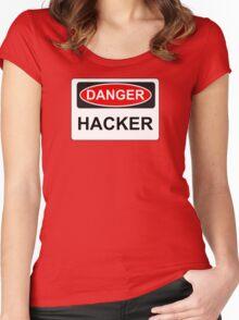 Danger Hacker - Warning Sign Women's Fitted Scoop T-Shirt