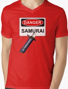 Danger Samurai - Warning Sign & Katana or Sword Mens V-Neck T-Shirt