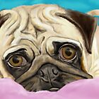 Digitally Painted Pug with Sad Eyes Lying on Rug by ibadishi
