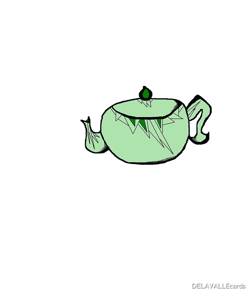 Green Deco Teapot (profile) by DELAVALLEcards