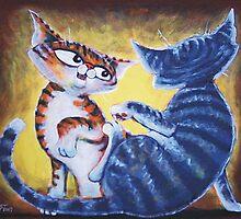 Two Cat, Feline Fun - Art by TET by etourist