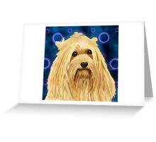 Digitally Painted Blond Hairy Yorkshire on Blue Greeting Card