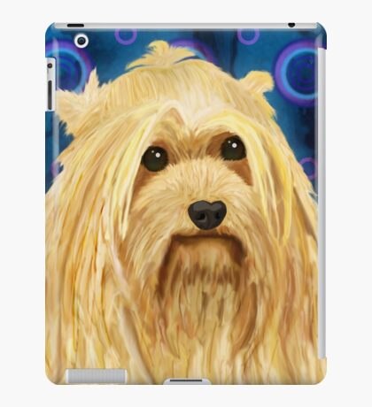 Digitally Painted Blond Hairy Yorkshire on Blue iPad Case/Skin