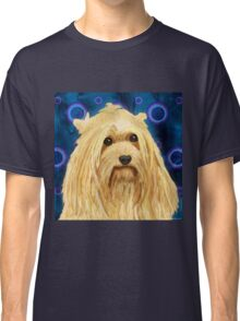 Digitally Painted Blond Hairy Yorkshire on Blue Classic T-Shirt