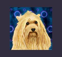 Digitally Painted Blond Hairy Yorkshire on Blue Unisex T-Shirt
