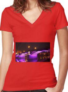 Pink bridge Women's Fitted V-Neck T-Shirt