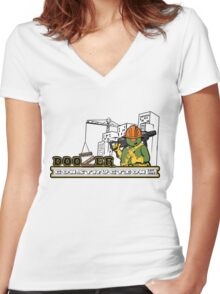 Doozer Construction Women's Fitted V-Neck T-Shirt