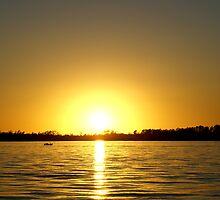sunset on the lake by birus