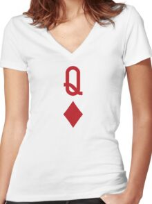 Queen of Diamonds Red Playing Card Women's Fitted V-Neck T-Shirt