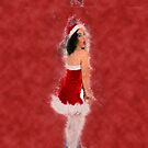 Young sexy woman in a red corset wearing Santa hat on white background by PhotoStock-Isra