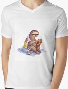 Cozy Sloth Mens V-Neck T-Shirt