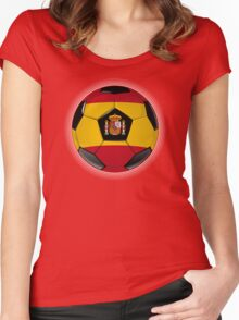 Spain - Spanish Flag - Football or Soccer Women's Fitted Scoop T-Shirt