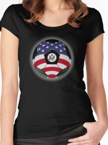 USA - American Flag - Football or Soccer Women's Fitted Scoop T-Shirt